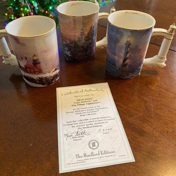3 Thomas Kincaid Lighthouse Mugs